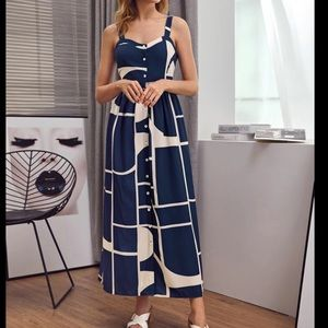 Single Breasted Colorblock Slip Dress